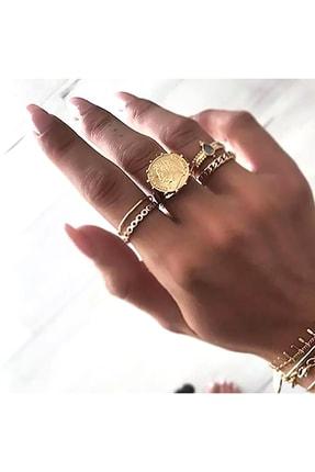 Pelin Aksesuar Gold Çoklu Yüzük Seti
