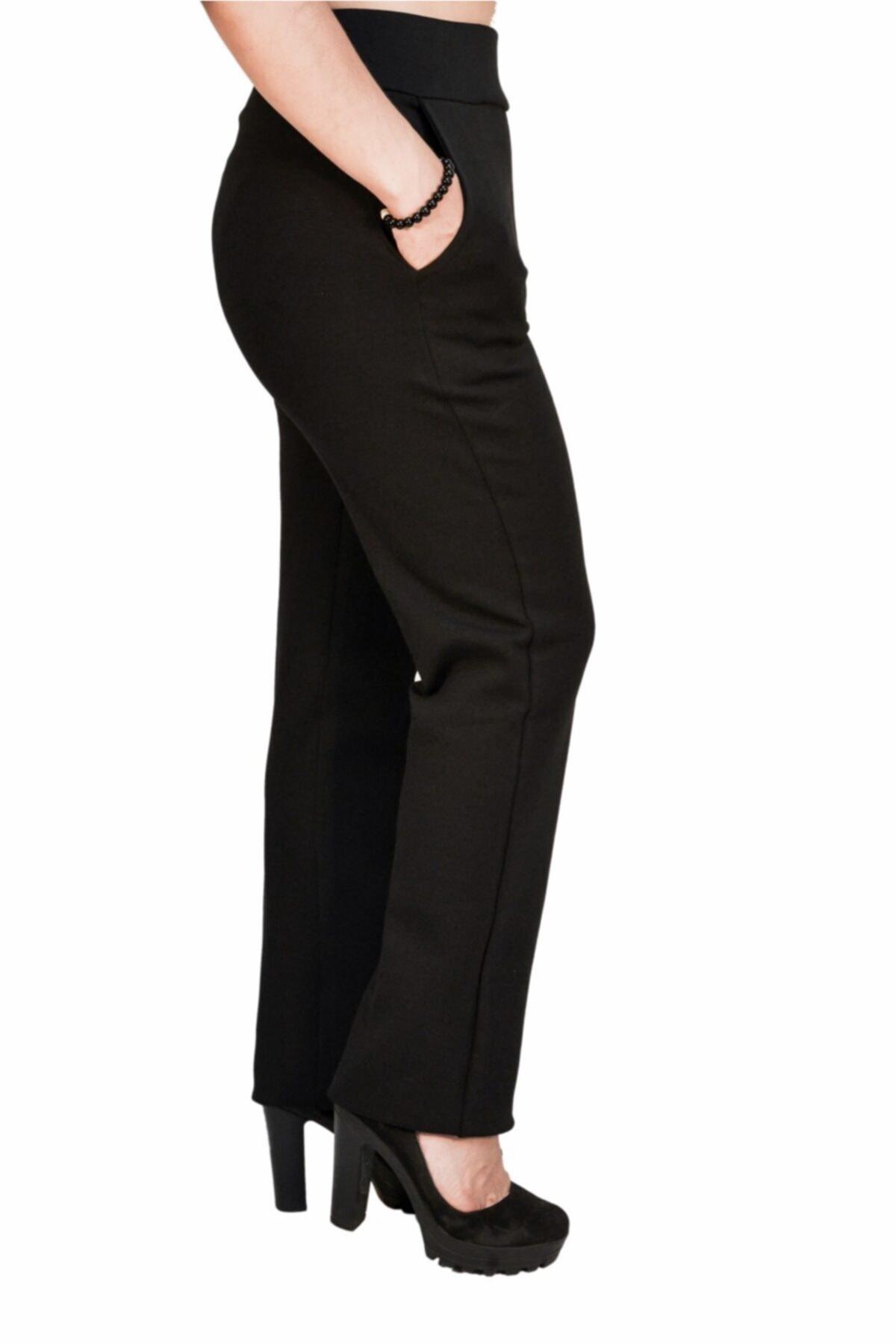 Otto Kadın Siyah Klasik Yüksek Kemer Dar Paça Pantalon 2
