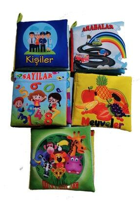 Bebek Eğitimi Unisex Bebek Bez Kitap Pofuduk Yıkanabilir Hışırtılı Kitap Seti 5'li