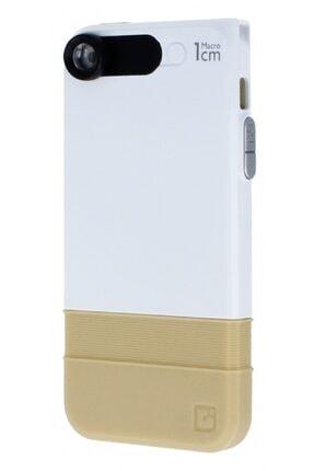 MobilCadde Dafoni Iphone Se / 5 / 5s Uyumlu Makro Lens Entegreli Ultra Koruma Gold Kılıf 1 cm