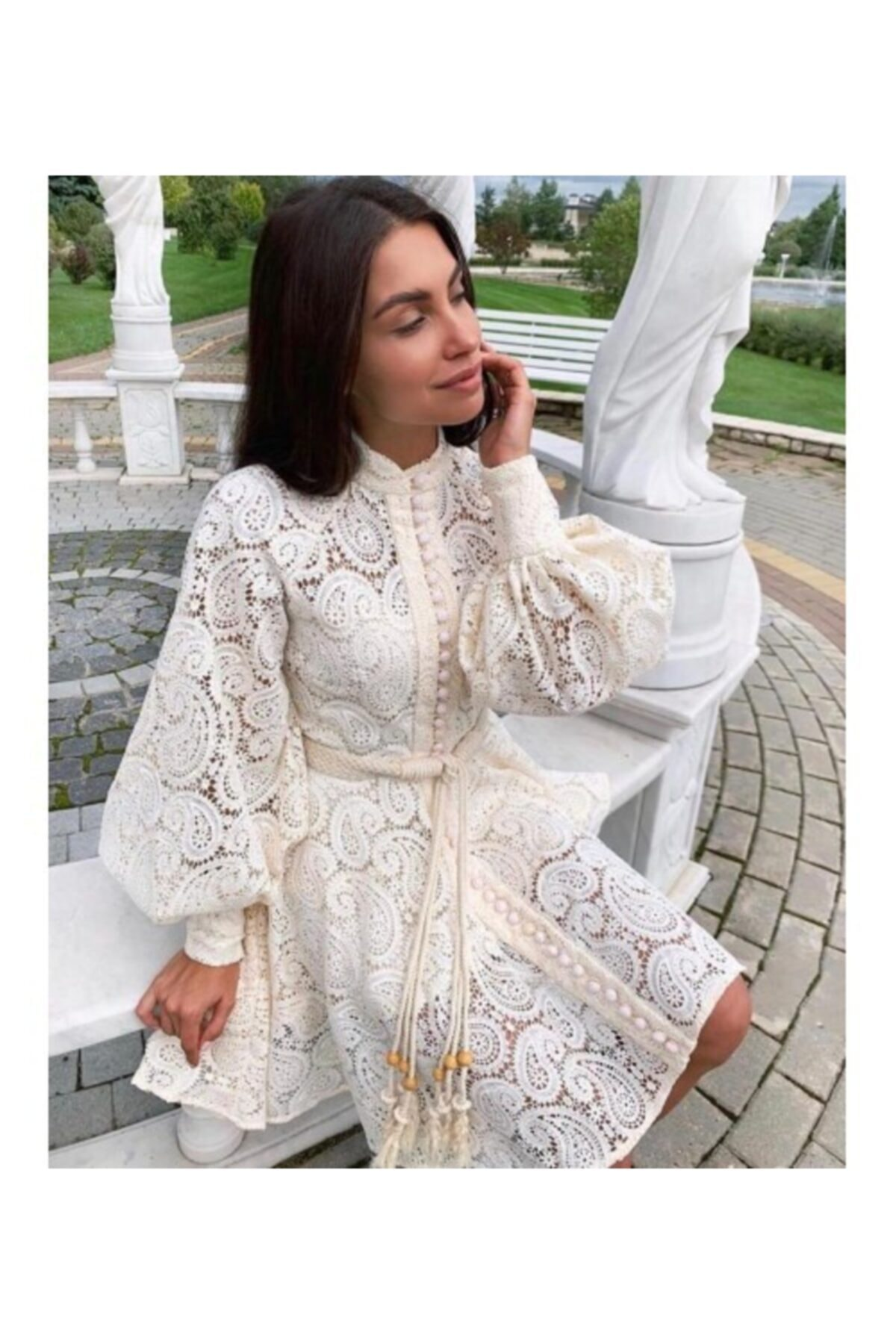 Ahsenserra Kadın Beyaz Gracia Güpür Elbise 1