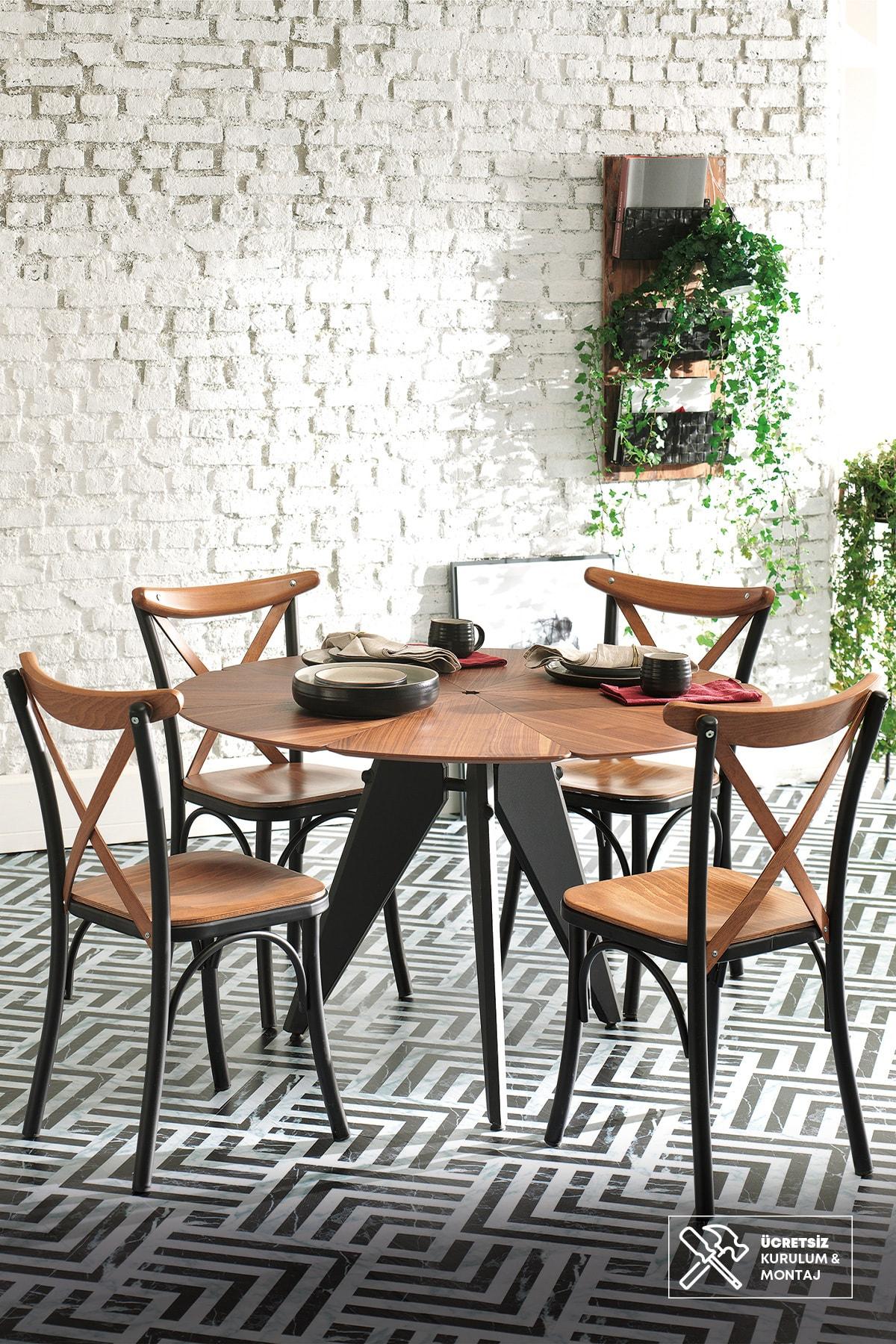 Enza Home DAISY Yuvarlak Mutfak Masası (Çap 120 cm)