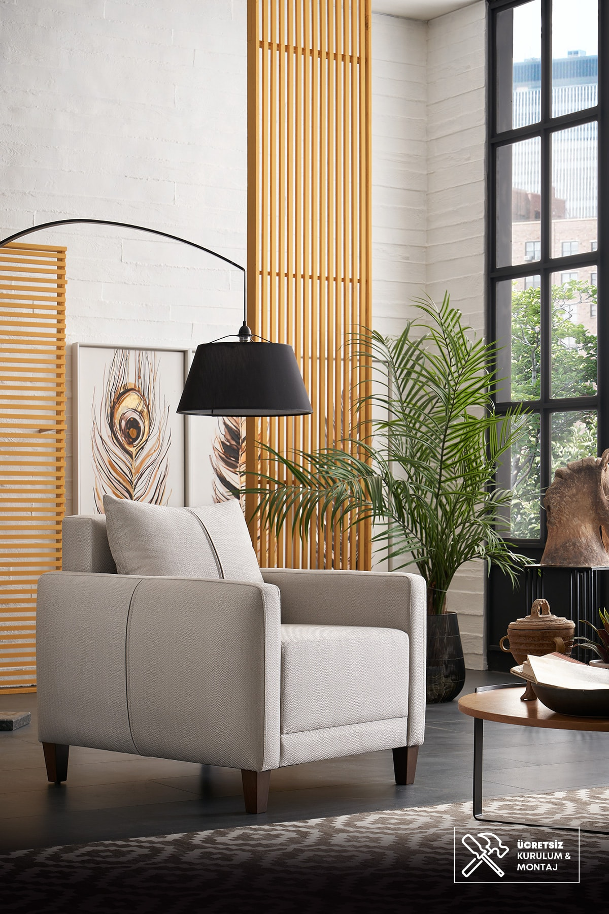 Enza Home Smart Berjer (AÇIK GRİ-KETEN DESENLİ KUMAŞ)
