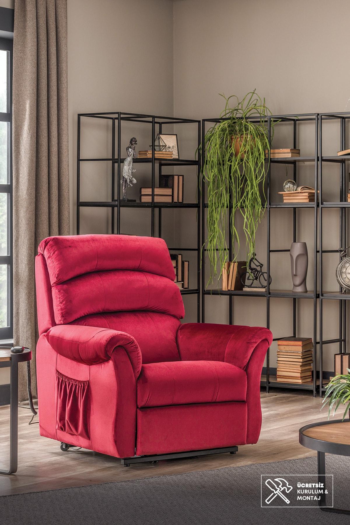 Enza Home ARİZONA Lift Mekanizmalı Baba Koltuğu (Kırmızı-Taytüyü Desenli Kumaş)