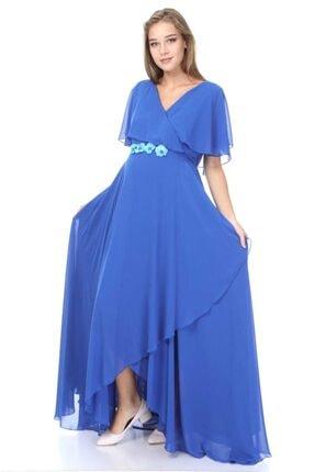 Entarim Kadın Mavi Hamile Şifon Elbise