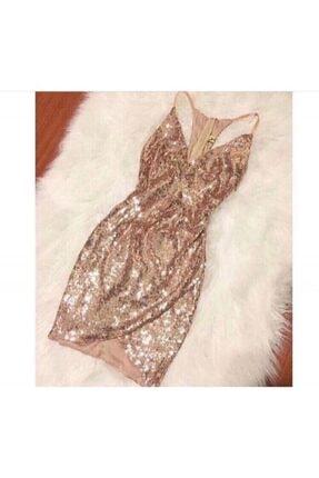 Ahsenserra Kadın Altın Stephanie Elbise
