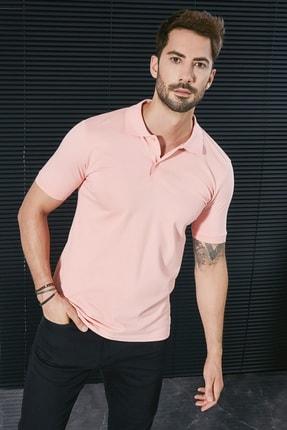 Sateen Men Erkek Pembe Polo Yaka Slimfit T-Shirt STN844ETS111