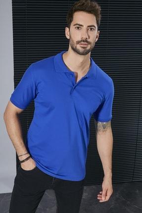 Sateen Men Erkek Sax Mavi Polo Yaka Slimfit T-Shirt STN844ETS111