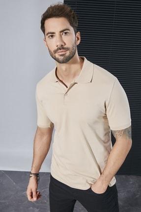 Sateen Men Erkek Bej Polo Yaka Slimfit T-Shirt STN844ETS111