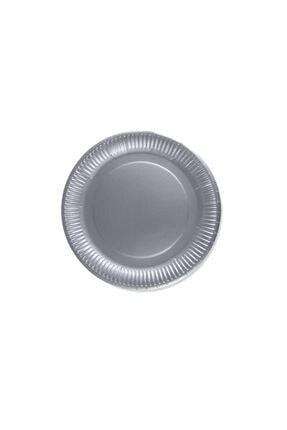 Eminonutoptanci Karton Gümüş Düz Renk Tabak 23 cm - 8 Adet