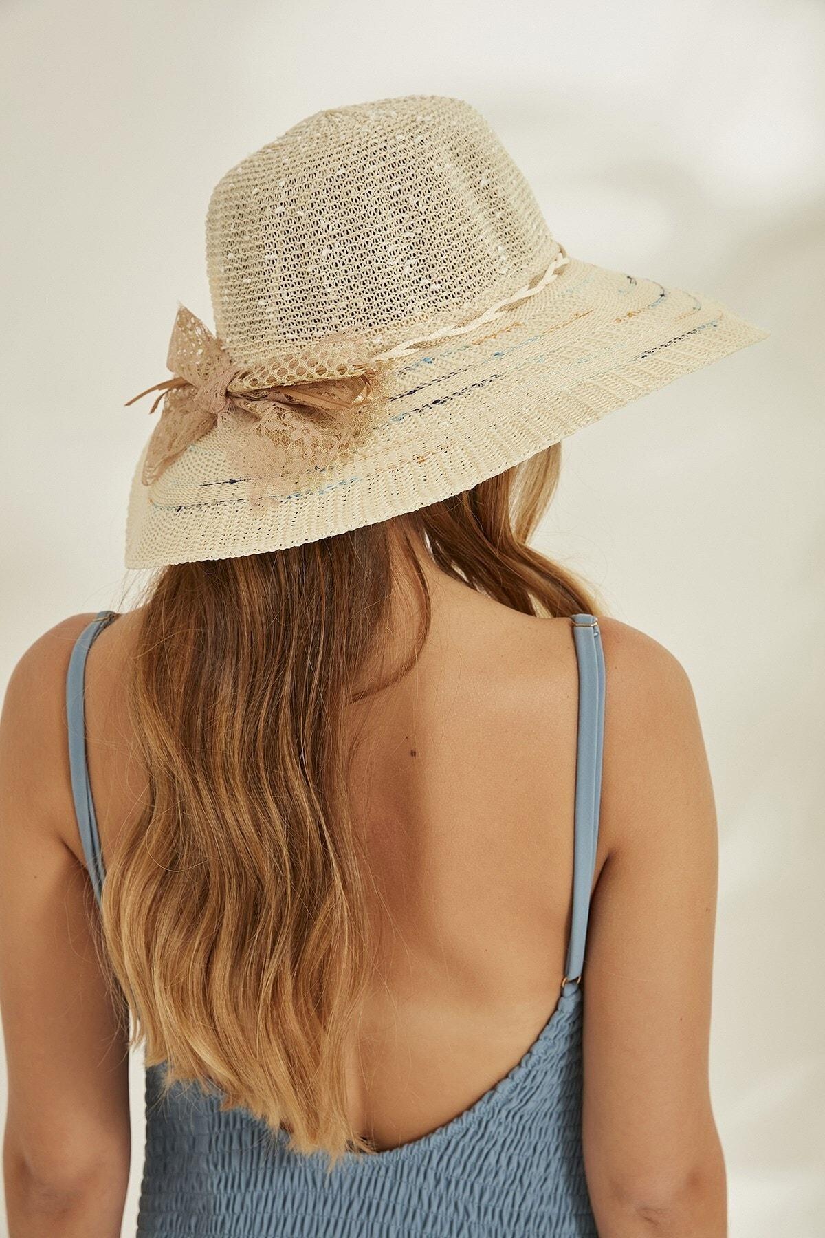 C&City Kadın Merserize Hasır Şapka T2740-08 Ekru 2