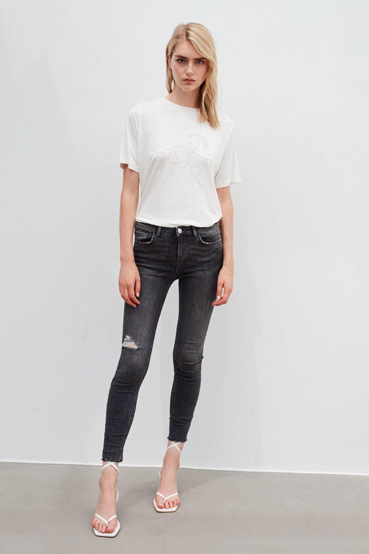 İpekyol Kadın Gri Skinny Fit Jean Pantolon 1