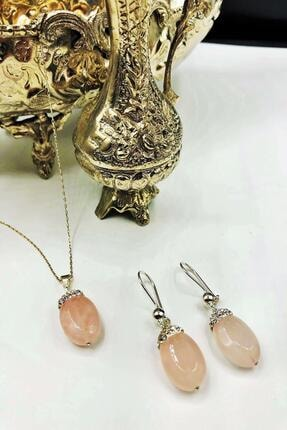 Dr. Stone Harem Koleksiyonu Pembe Kuvars Taşı El Yapımı 925 Ayar Gümüş Set Gdr3