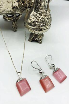 Dr. Stone Harem Koleksiyonu Kedigözü Taşı El Yapımı 925 Ayar Gümüş Set Gdr12