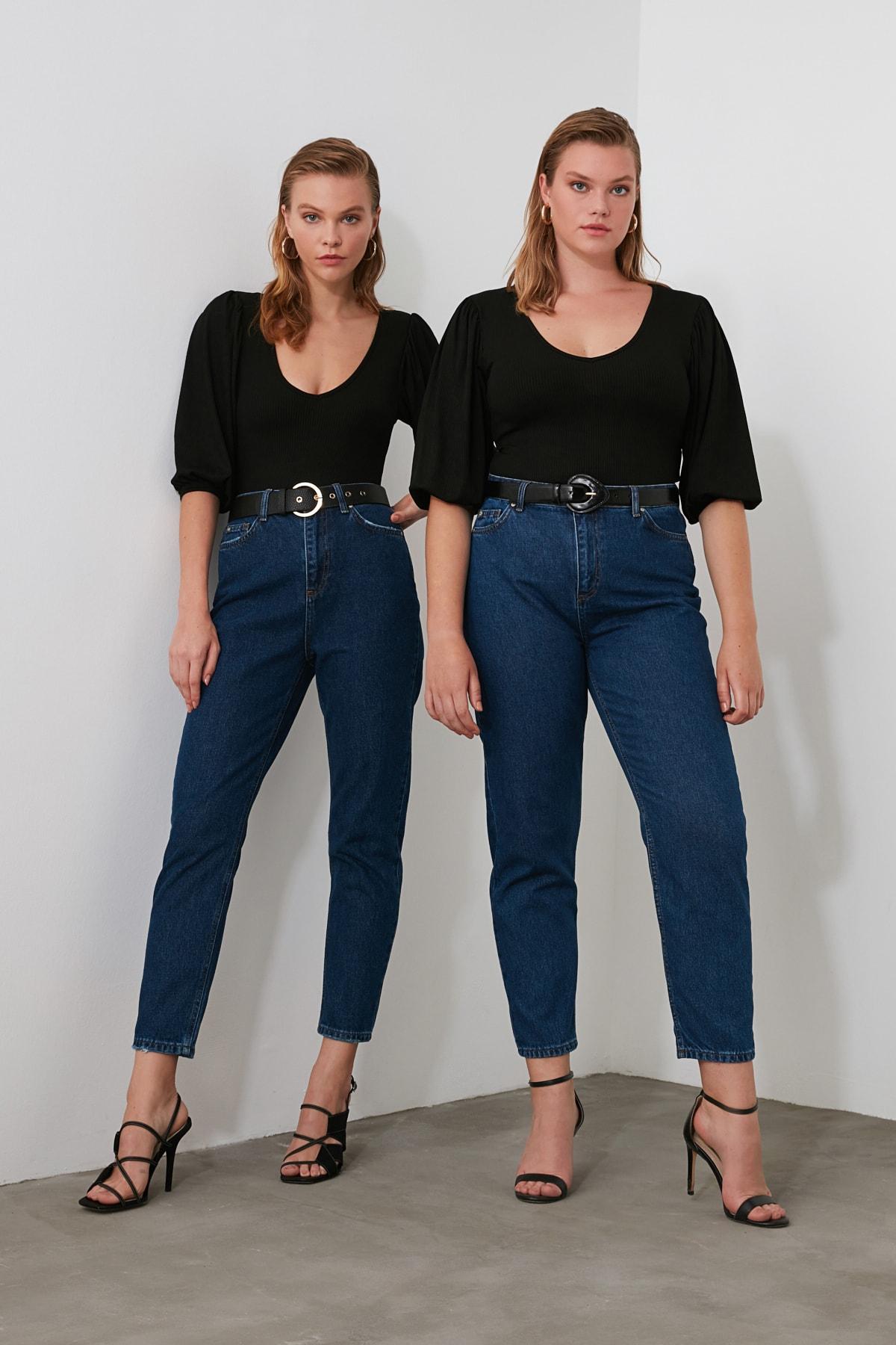 TRENDYOLMİLLA Lacivert Yüksek Bel Mom Jeans TWOSS20JE0108 2