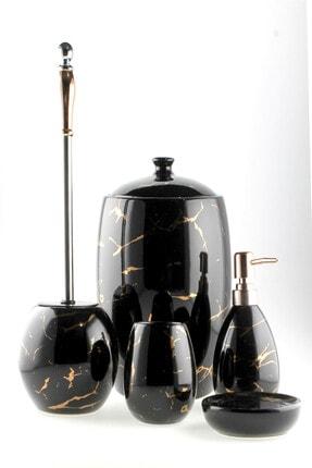 AROW Luca Mermer Görünümlü Porselen Banyo Takımı 5 Parça/Siyah