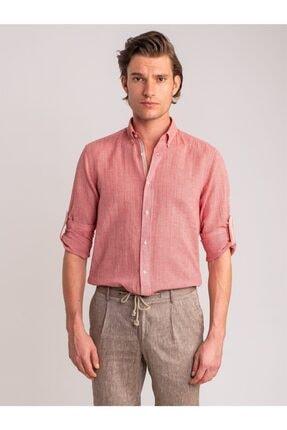 Dufy Erkek Kırmızı Armür Keten Karışımlı Nefes Alabilen Slım Fıt Gömlek