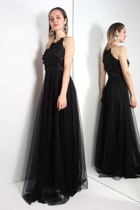 LOVE IS EVERYWHERE Üstü Çiçekli Altı Tül Uzun Abiye Elbise
