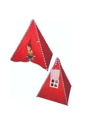 Meleni Home Kızılderili Pencereli Çocuk Oyun Çadırı Oyun Evi Kamp Çadırı Kırmızı