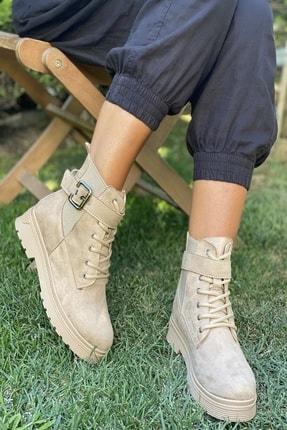 İnan Ayakkabı Kadın Bej Kenarı Lastikli Kenardan Tokalı Bot