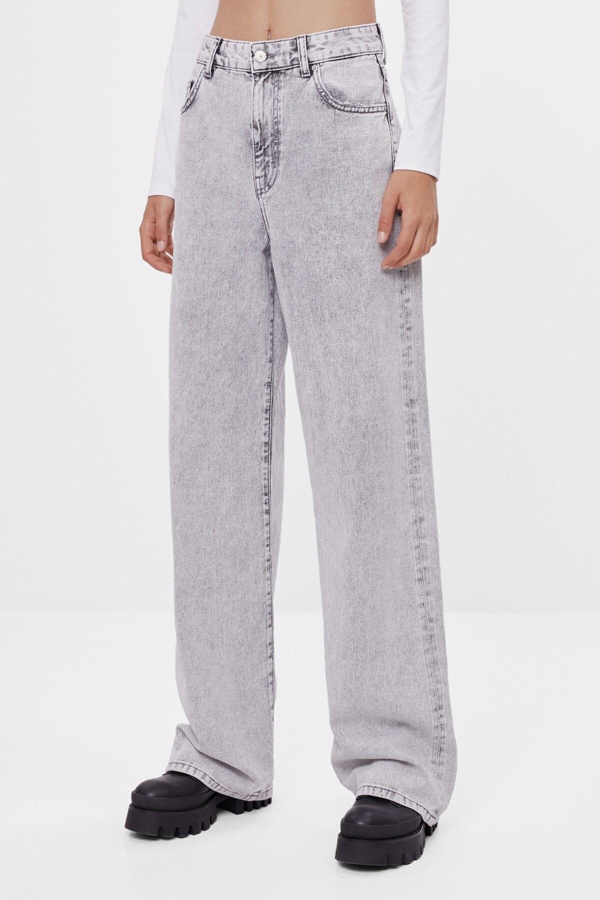 Bershka Kadın Gri Wide Leg Jean 2