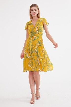 Journey Kadın Sarı Çiçekli Volan Detaylı Elbise