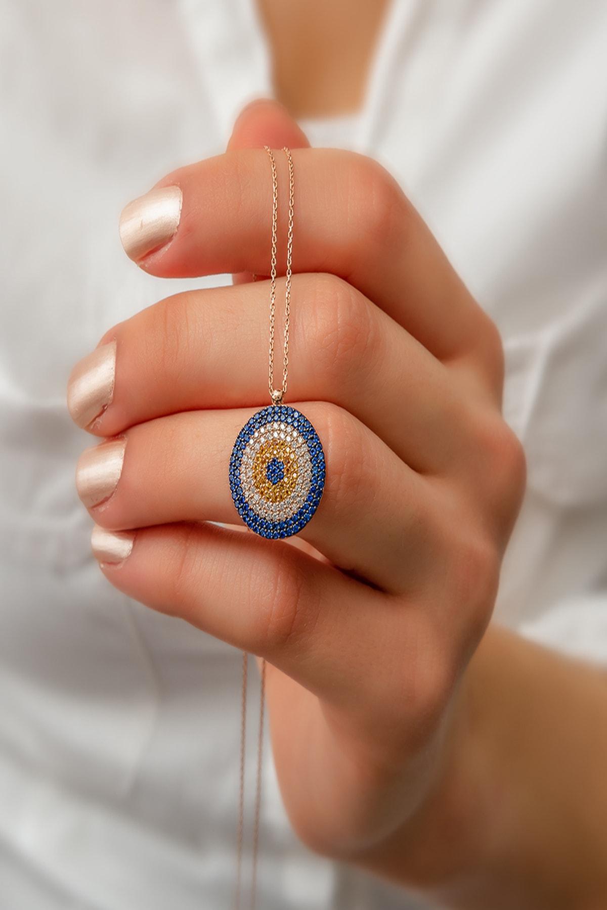 Elika Silver Kadın Büyük Nazar Boncuklu Rose Kaplama 925 Ayar Gümüş Kolye PP411