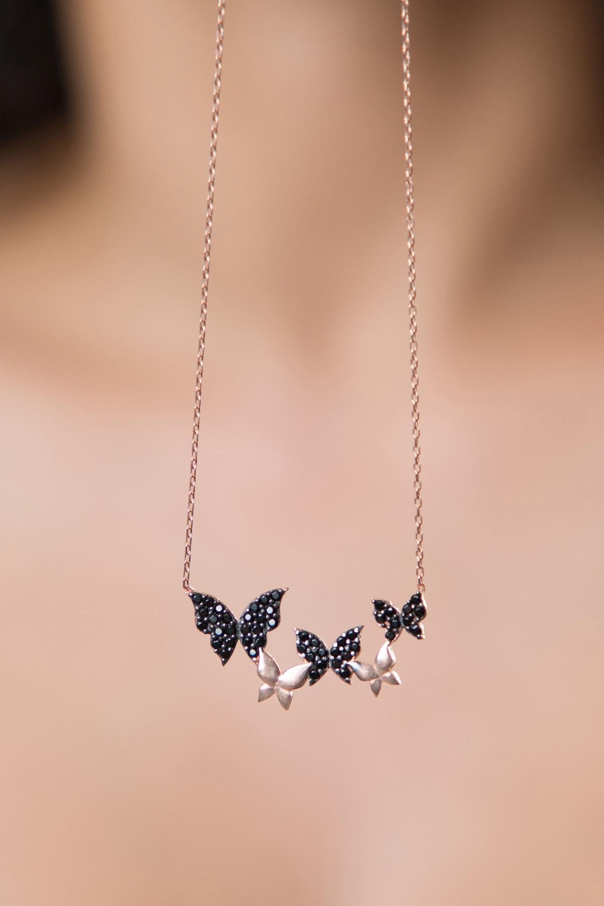 Elika Silver Kadın Kelebek ModelRose Kaplama 925 Ayar Gümüş Kolye 1