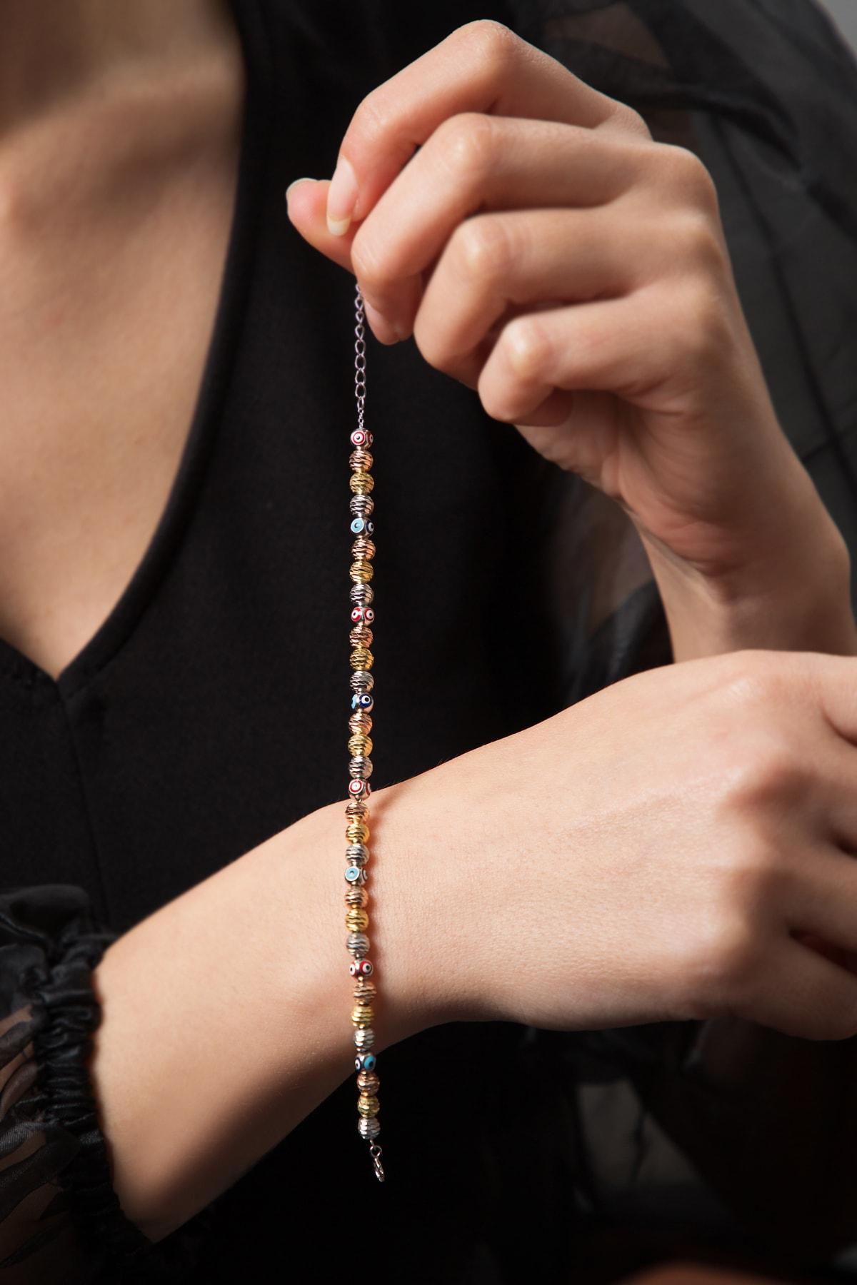 Elika Silver Kadın Nazar Boncuklu 3 Renkli  Dorika Karışık 925 Ayar Gümüş Bileklik 2