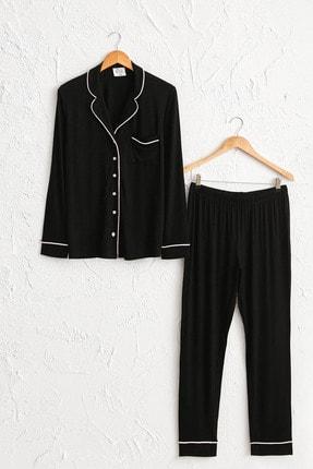 LC Waikiki Kadın Yeni Siyah Pijama Takım 0W2454Z8