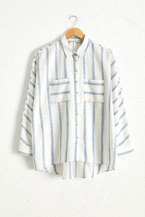 LC Waikiki Kadın Mavi Çizgili Gömlek 0WCG61Z8