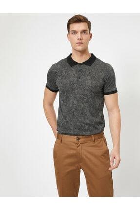 Koton Erkek Siyah Desenli T-Shirt 0YAM11570LK