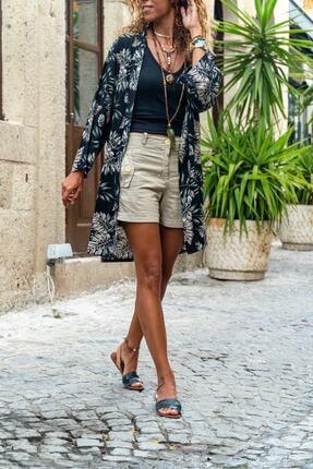 Dnz Kadın Siyah Desenli Uzun Kimono