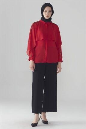 Zühre Kadın Broş Detaylı Gömlek Kırmızı G-0031