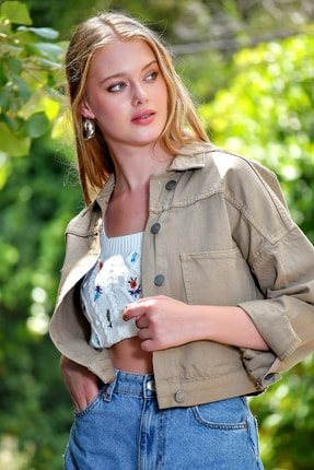 Trend Alaçatı Stili Kadın Bej Crop Denım Ceket ALC-X3631-A