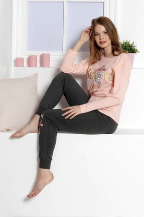 VİENETTA Kadın Pembe Uzun Kol Penye Suprem Pijama Takım