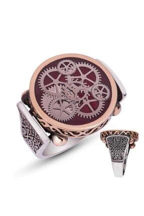 Gumush Gümüş Bordo Saat Çarkı Erkek Yüzük
