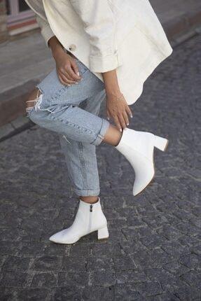 STRASWANS Marla Bayan Topuklu Deri Bot Beyaz