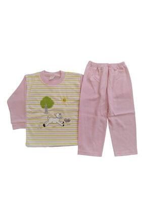 AYYILDIZ Kışlık Uzun Kol Kuzu Nakışlı Omuzdan Çıtçıtlı %100 Pamuklu Kız Ve Erkek Çocuk Pijama Takımı