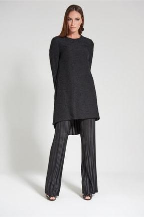 Olcay Kadın Siyah Pilise Pantolonlu Sıfır Yaka Takım