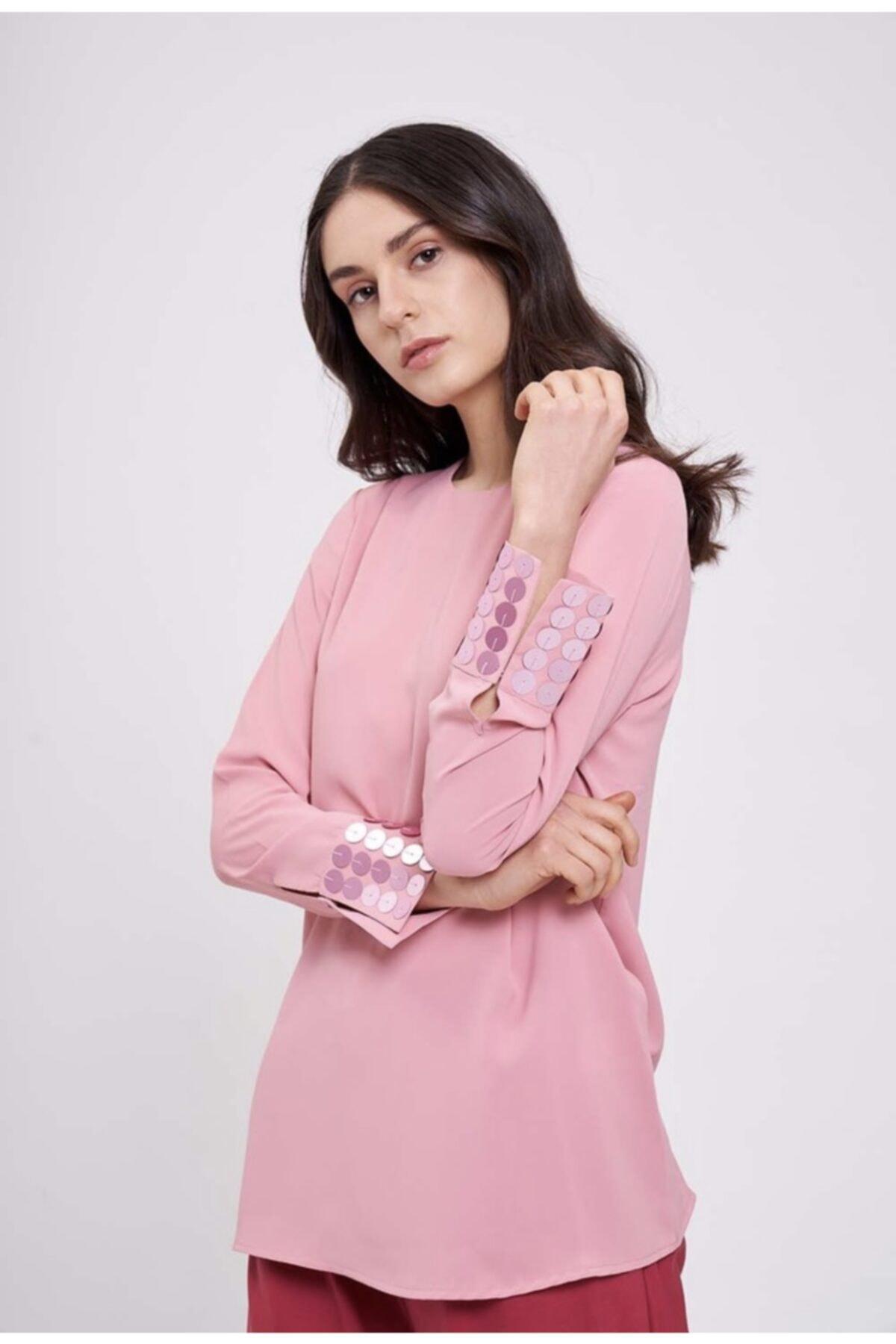 Mizalle Kadın Pembe Manşetleri Pul Işlemeli Bluz 1