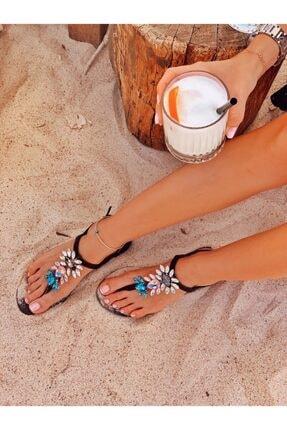 Oblavion Rio Glam Black Kristal Cam Taş Detaylı Kadın Sandalet