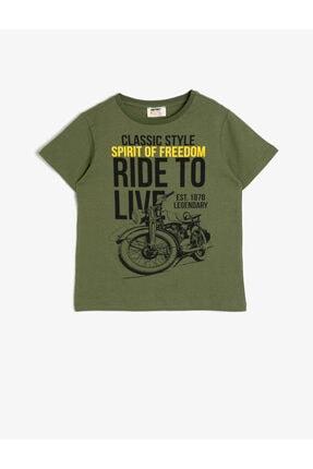 Koton Erkek Çocuk Yeşil Bisiklet Yaka Yazı Baskılı T-Shirt