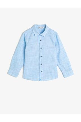 Koton Kids Erkek Çocuk Kirçilli Kumastan Uzun Kollu Klasik Yaka Gömlek