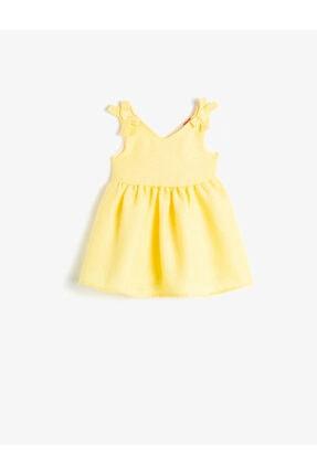 Koton Kız Çocuk Sarı V Yaka Kolsuz Elbise