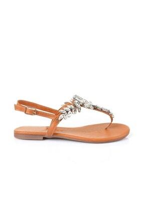 Oblavion Lavin Hakiki Deri Taba Taşlı Sandalet