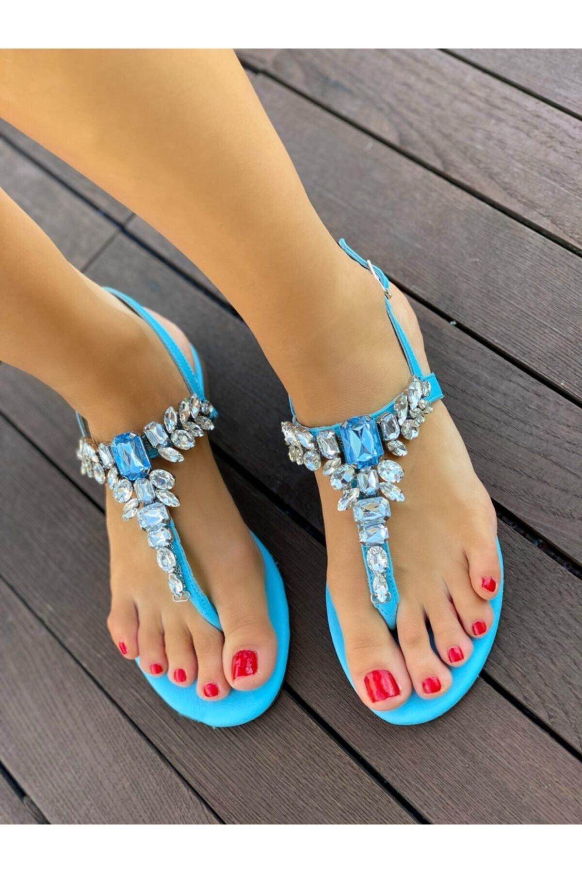 Oblavion Lavin Hakiki Deri Bebe Mavi Taşlı Sandalet 2