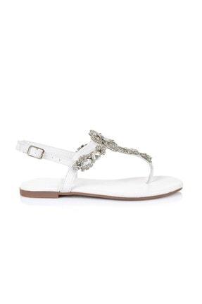 Oblavion Lavin Hakiki Deri Beyaz Taşlı Sandalet