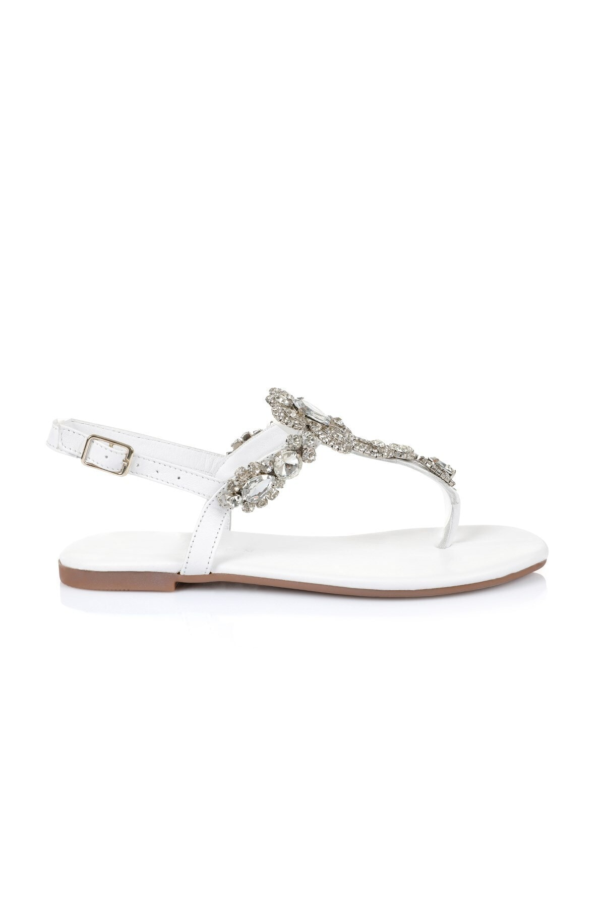 Oblavion Lavin Hakiki Deri Beyaz Taşlı Sandalet 1