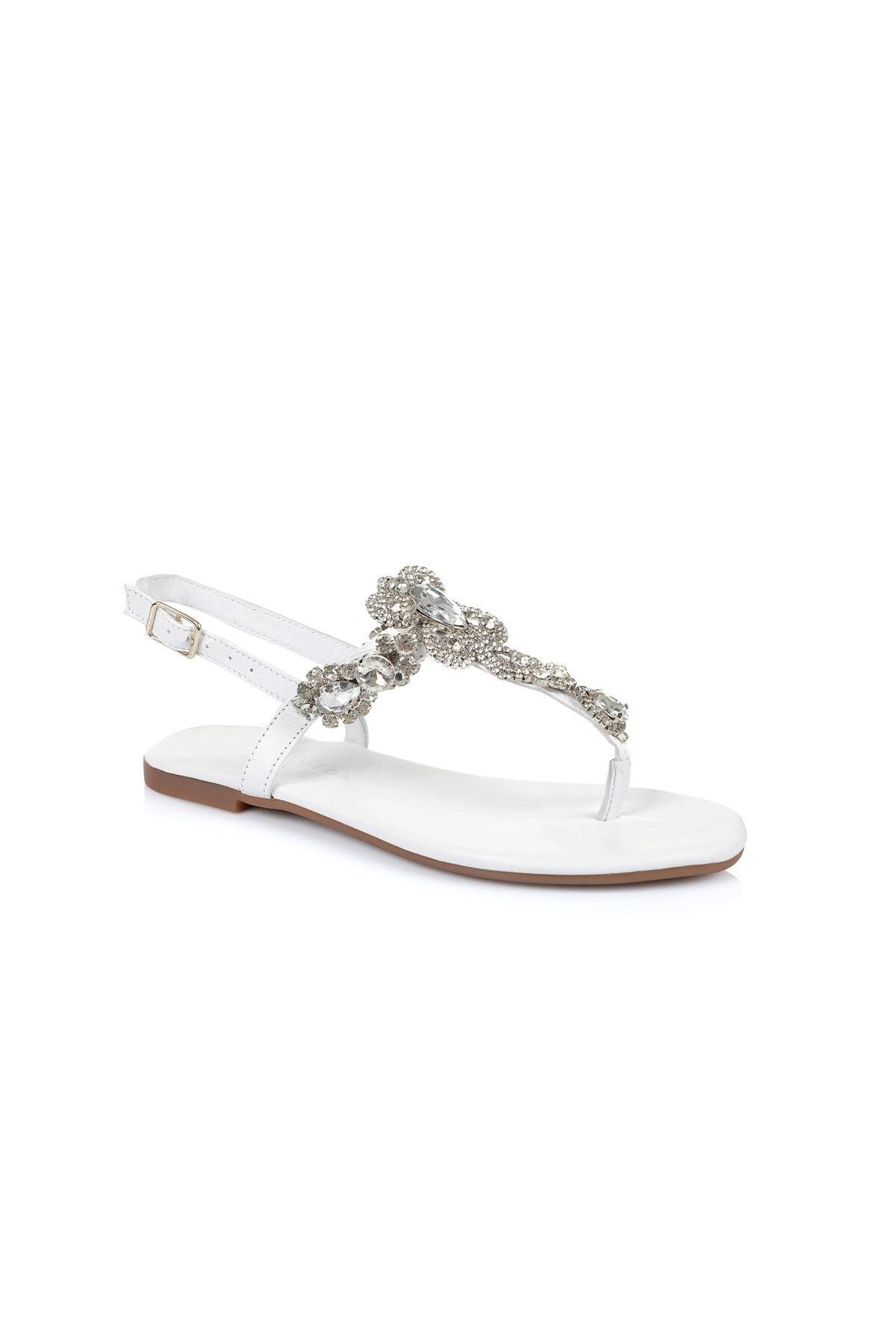 Oblavion Lavin Hakiki Deri Beyaz Taşlı Sandalet 2